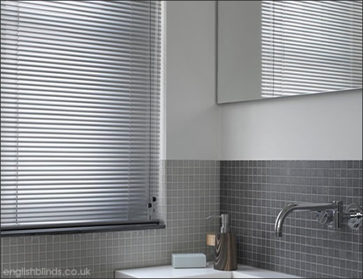 aluminium venetian in window. Choosing the Right Blinds for your Bathroom   English Blinds