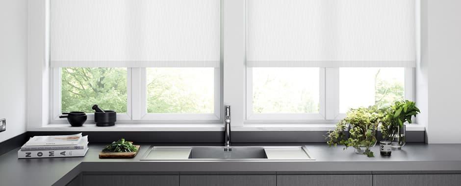 white roller window blinds