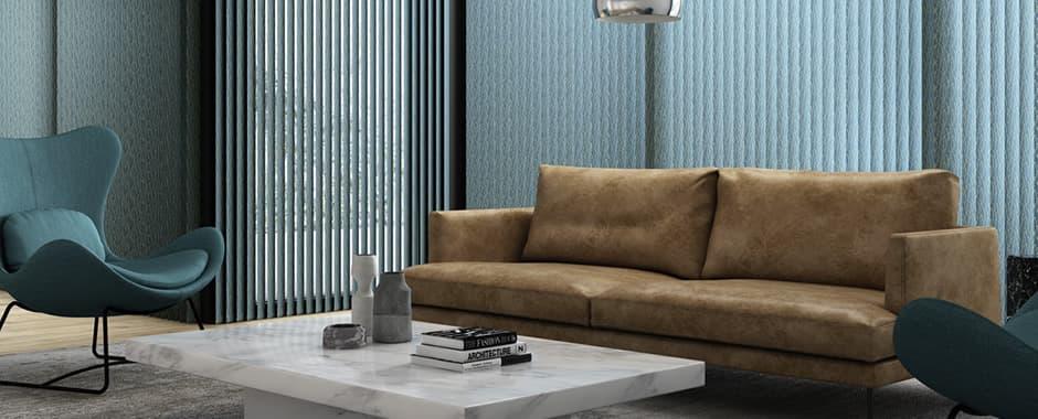 Blue patterned vertical blinds in modern living room