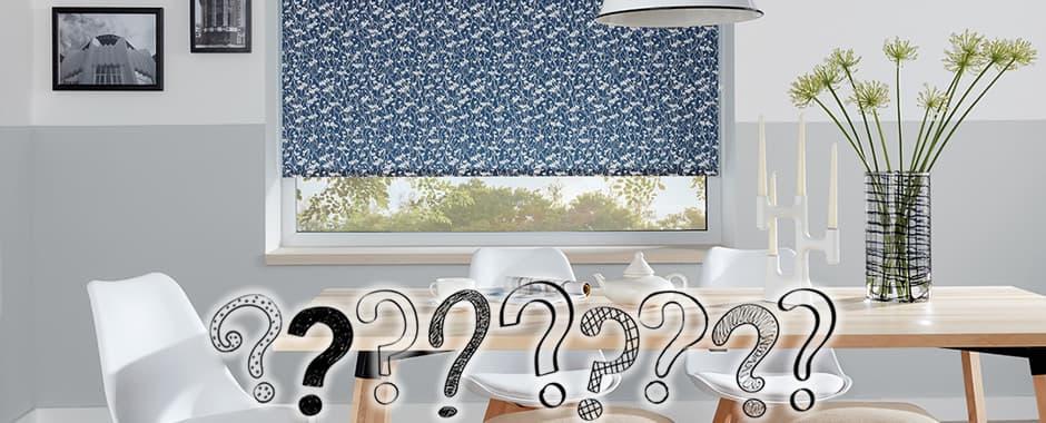 Blue floral patterned roller blinds