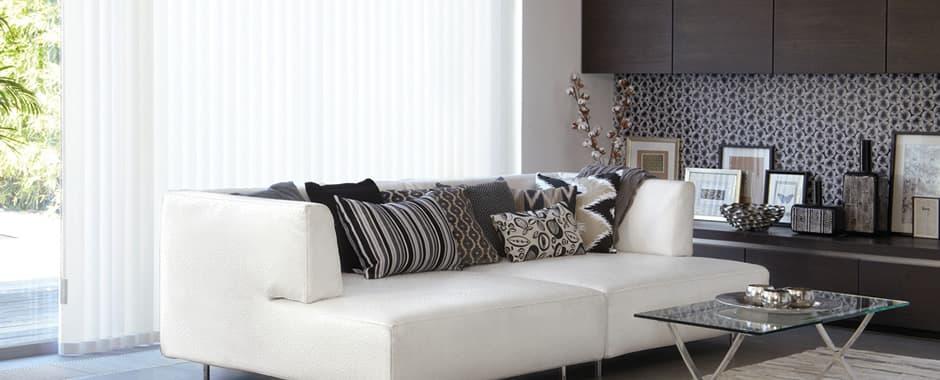Luxury white vertical blinds in modern living room