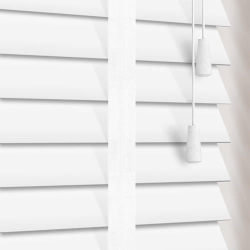 35mm White & Cotton Faux Wood Wooden Blind