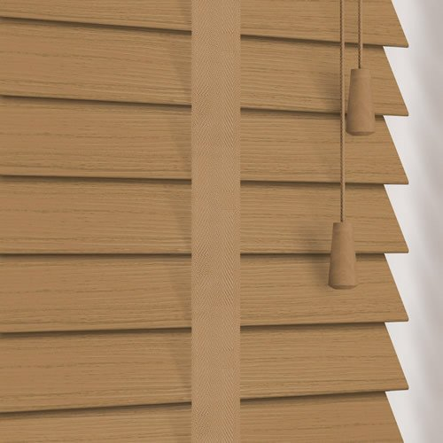 35mm Natural Oak & Hessian Faux Wood Wooden Blind