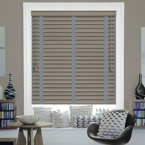35mm Driftwood Pvc Faux Wood Blinds With Steel Tapes