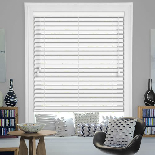 35mm White Faux Wood Venetian Blinds Ideal For Bathroom