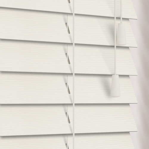 Off White Textured Fine Grain Faux Wood Blinds 50mm Made