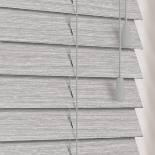 50mm Purbeck Light Grey Deep Grain Wooden Blinds Real Wood