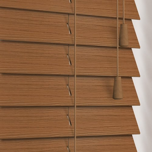 50mm Warm Oak Faux Wood Wooden Blind