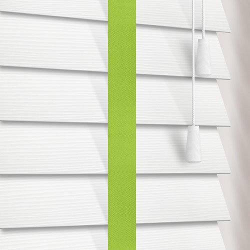 3a003cd0371b 50mm White Faux Wood Blinds with Contrasting Lime Green Tapes