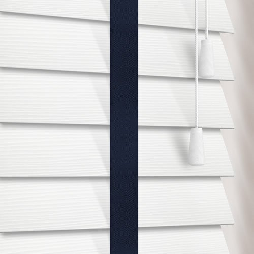 50mm White Faux Wood Blinds With Contrasting Navy Blue Tapes