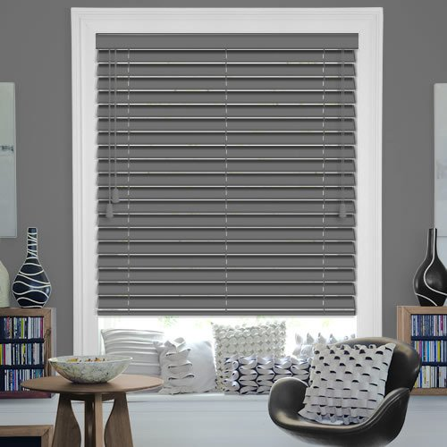 Luxury 50 Mm Dark Grey Wooden Blinds Painted Wood Venetian