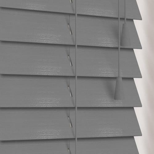 Rustic Steel Grey Designer Wooden Blinds 50mm Made To Measure