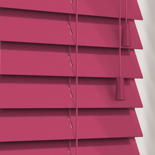 Luxury Gloss Deep Pink Wooden Blinds 50mm Made To Measure