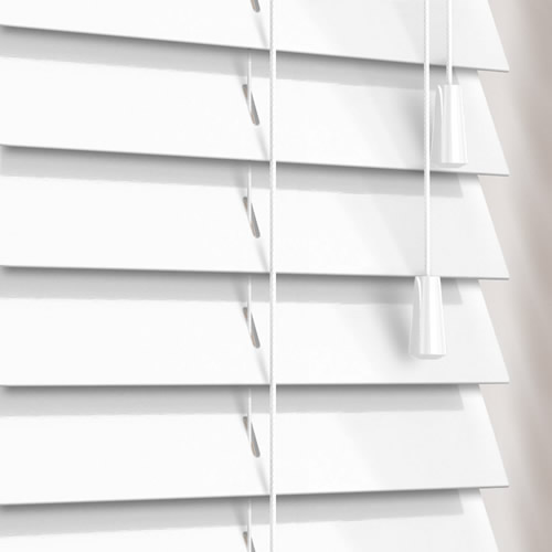 50mm Gloss Soft White Wooden Blind