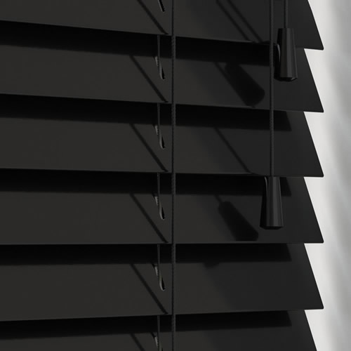 Luxury Gloss Black Wooden Blinds Contemporary 50mm Made