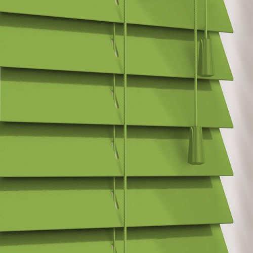 Luxury Gloss Lime Green Wooden Blinds 50mm Made To Measure