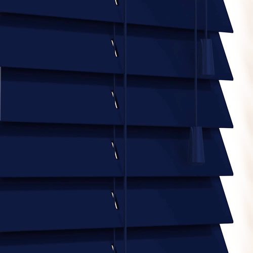 Luxury Gloss Navy Blue Wooden Blinds 50mm Made To Measure