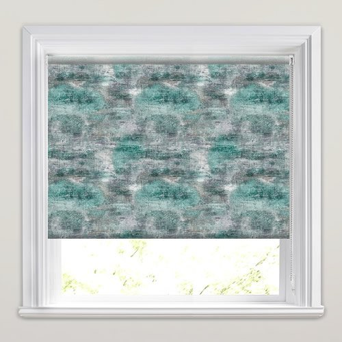 Dyed Concrete Patterned Roller Blinds In Duck Egg Grey
