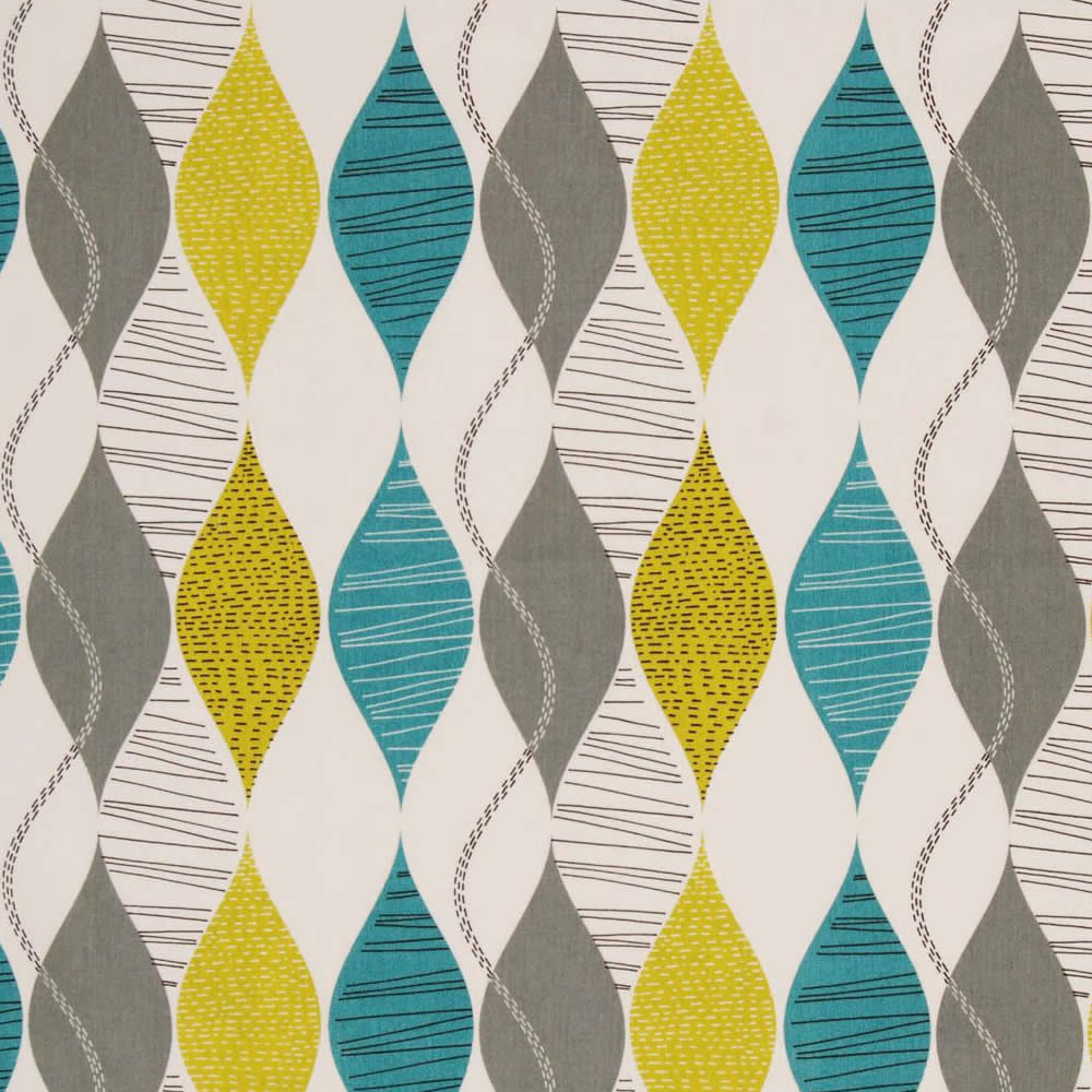 Retro Teal Golden Yellow Grey Amp Cream Patterned Roman Blinds