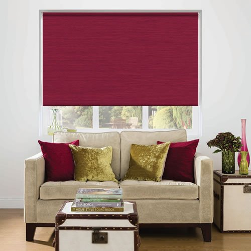 Vibrant Raspberry Red Faux Silk Textured Blackout Roller