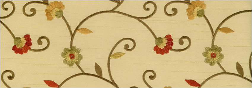 Embroidered Flowers Orange Beige Red Amp Gold Bedroom Curtains