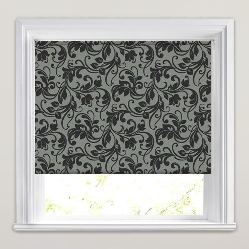 Light Grey Amp Black Traditional Swirling Floral Patterned