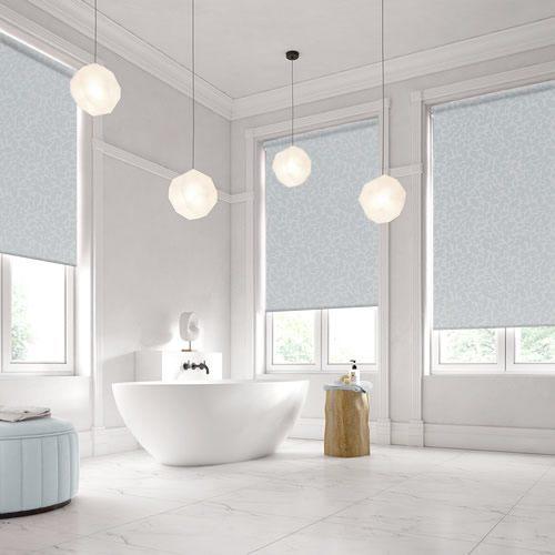 Leafy Patterned Waterproof Bathroom Roller Blinds In Blue Grey