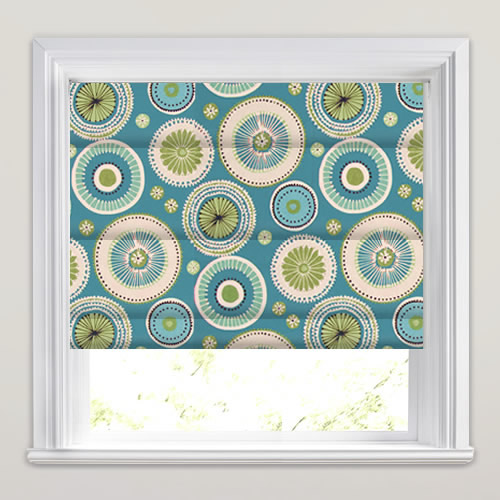 Blue Lime Green Amp White Funky Circle Patterned Roman Blinds