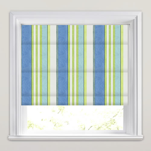 Contemporary Blue Lime Amp White Striped Roman Blinds