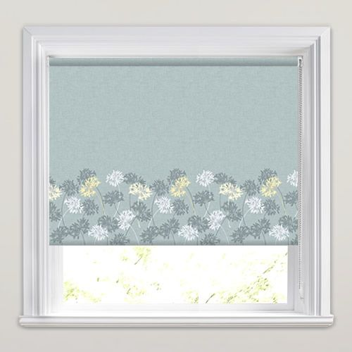 Pretty Floral Patterned Roller Blinds In Blue Yellow
