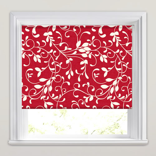 Vibrant Ruby Red Amp White Swirling Leaves Patterned Roller