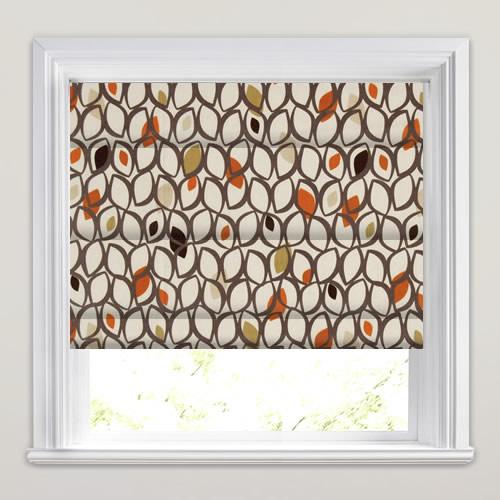 Brown Beige Cream Amp Orange Contemporary Patterned Roman