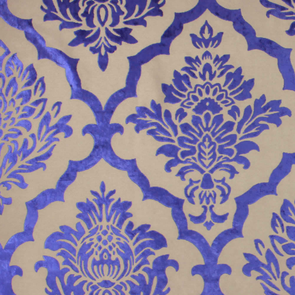 Luxurious Vibrant Blue Amp Beige Velvet Damask Patterned