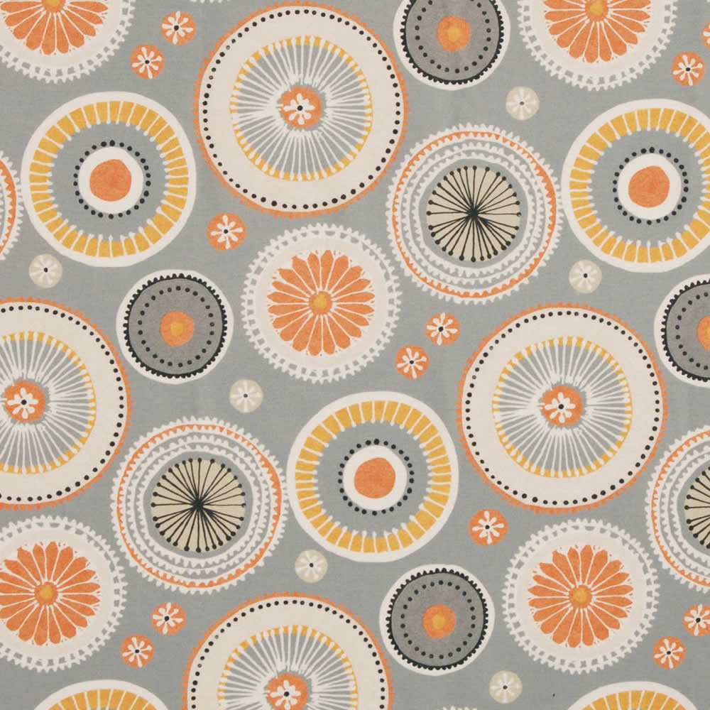 Orange Yellow Cream Beige Amp Grey Circle Patterned Roman