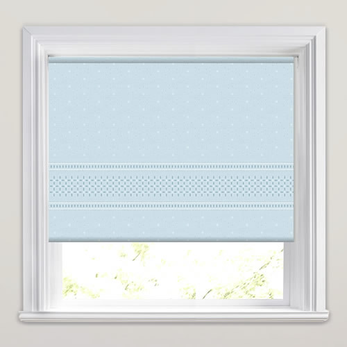 Creme Powder Blue Roller Blind