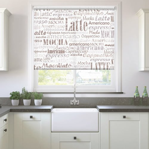 Coffee Patterned Kitchen Roller Blinds In Light Cream Amp Brown