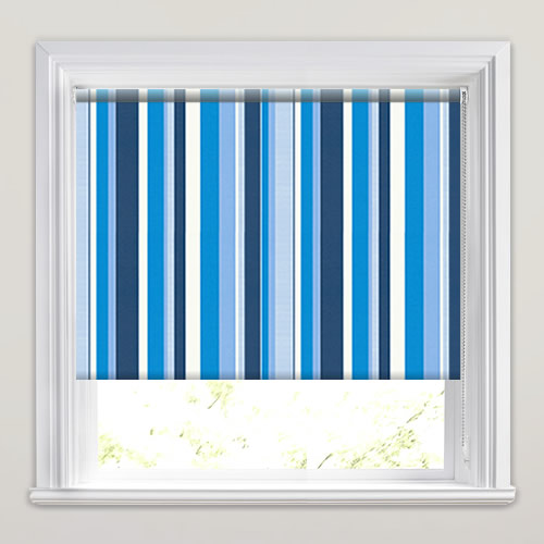 Contemporary Blue Amp White Vertical Striped Roller Blinds