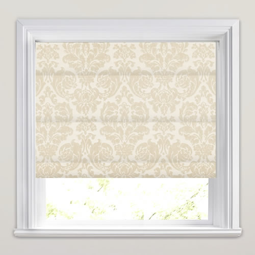 Traditional Woven Cream Beige Damask Patterned Roman Blinds - Roman blinds