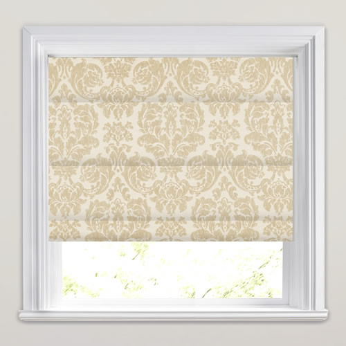 Luxurious Woven Cream Amp Linen Damask Patterned Roman Blinds