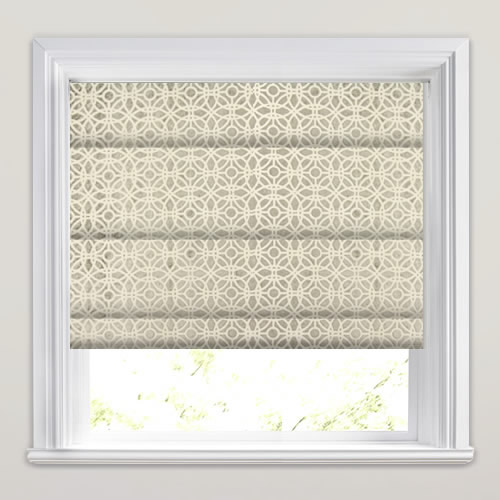 Shimmering Silver Velvet Amp Cream Mosaic Patterned Roman Blinds