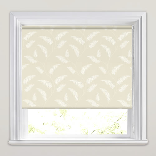Cream Amp White Fern Patterned Roller Blinds Made To Measure