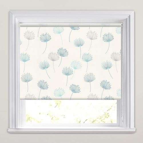 Pretty Dandelion Patterned Roller Blinds In White Blue Amp Grey