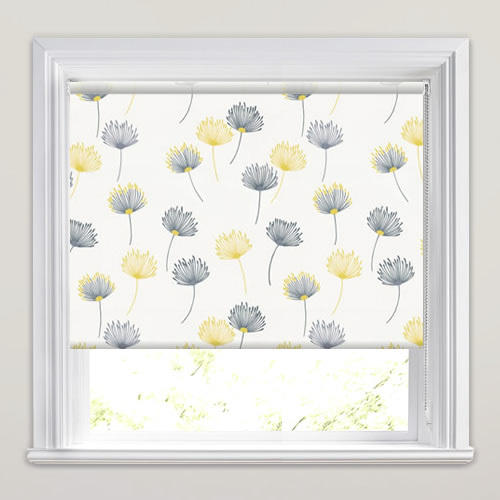 Dandelion Patterned Roller Blinds In White Grey Yellow