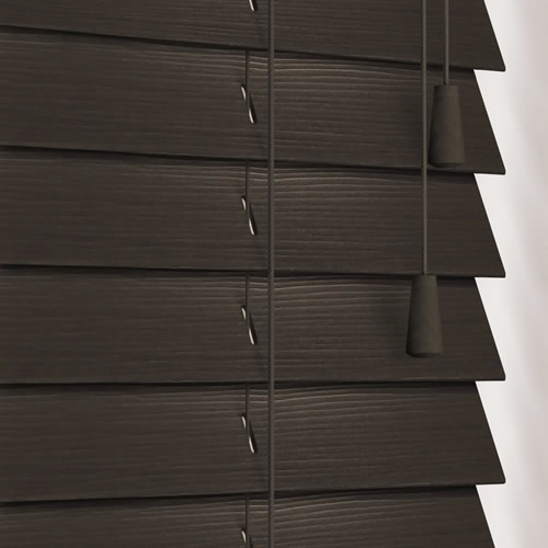 Dark Brown Almost Black Faux Wood Blinds 50mm Made To Measure