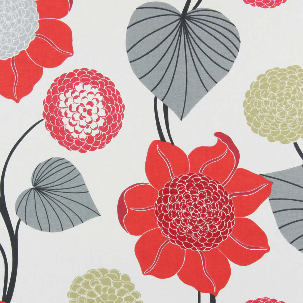 Red Beige Grey Amp White Large Contemporary Floral Roman