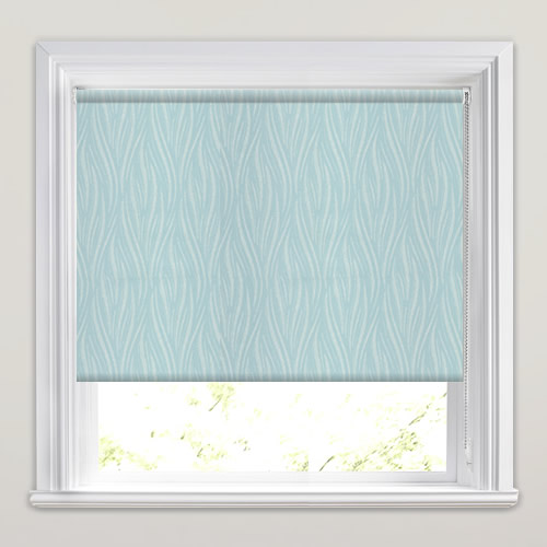 Duck egg green metallic silver patterned waterproof for Waterproof blinds for the bathroom