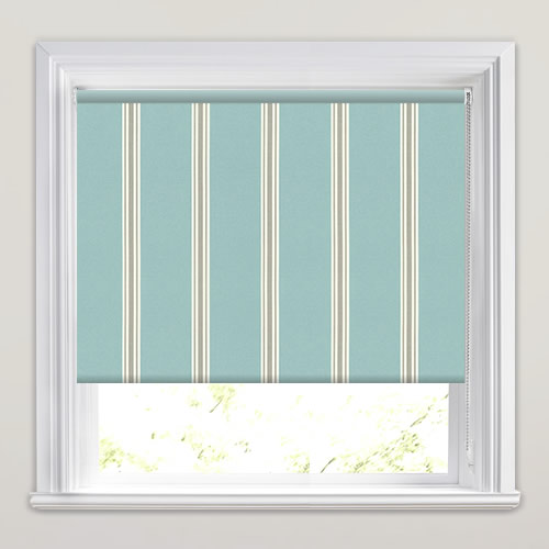 Duck Egg Amp Taupe Vintage Striped Blackout Roller Blinds