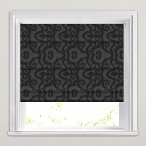 Shimmering Black Amp Grey Embossed Damask Patterned Roman Blinds