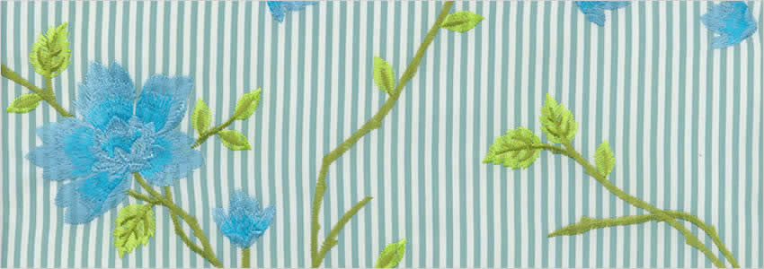 Flowers Striped Embroidered White Green Amp Blue Floral
