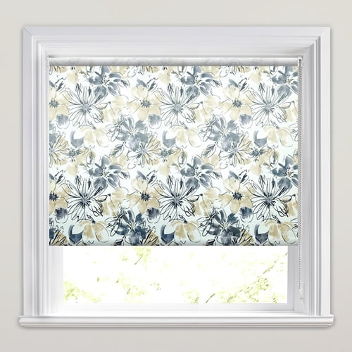 Luxury Flowers Patterned Waterproof Bathroom Roller Blinds